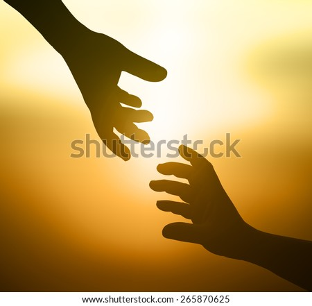Silhouettes hand of victim boy with rope in emotional stress, afraid, restricted, trapped, refugee, fear, child call for help, struggle. People open empty hands and raising hands to ask for something. - stock photo