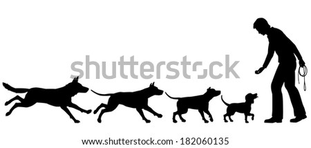 Silhouettes illustrating the domestication of dog from wolf