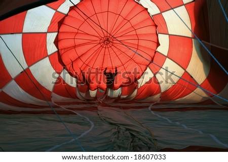 Silhouettes inside a Hot Air Balloon - stock photo