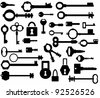 Silhouettes keys and locks - stock vector