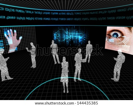 Silhouettes made of computer data with display screens showing various computing images - stock photo