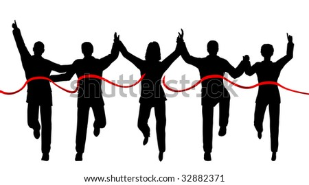 Silhouettes of a business team crossing a finishing line - stock photo