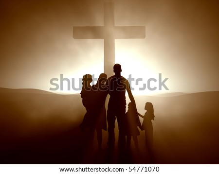 Silhouettes of a family at the Cross of Jesus. - stock photo