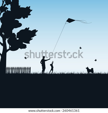 Silhouettes of a happy family of the child and the father with kite on blue background, illustration. - stock photo