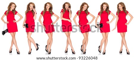 Silhouettes of a sexy blond woman in red dress - stock photo