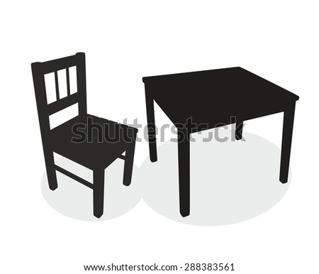 silhouettes of a table and a chair