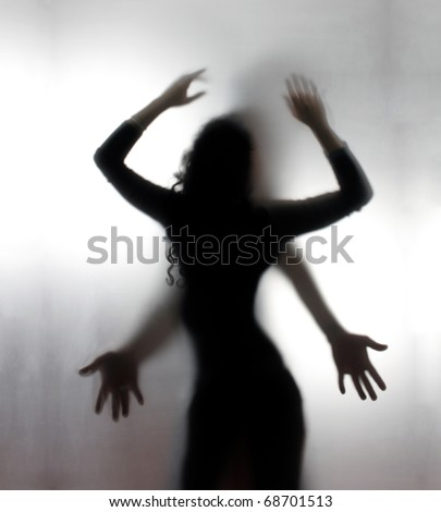 Silhouettes of a two lovers - stock photo