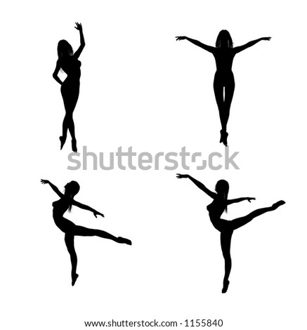 Silhouettes of a woman in ballet poses - stock photo