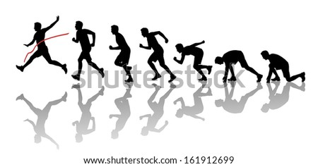 silhouettes of a young man starting running, running and crossing a red finish line winning a race - stock photo