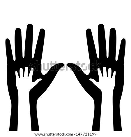 silhouettes of adult and children's hands