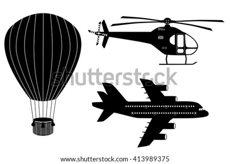 Silhouettes  of air transport: plane, helicopter and aerostat. Black and white icons set. Airline service. Flying airplanes illustration - stock photo