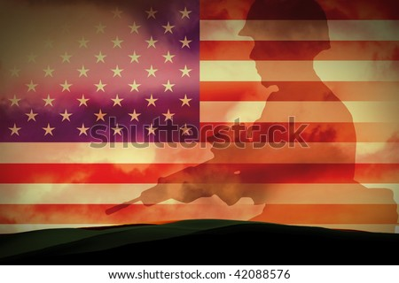 silhouettes of any Soldiers in new york - stock photo