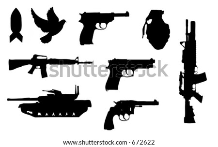 Silhouettes of assorted guns and weapons - stock photo