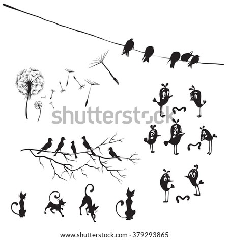 silhouettes of birds and flowers dandelion, birds on wires - stock photo