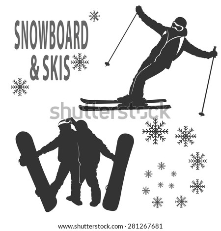 Silhouettes of boy and girls that are skying and boarding