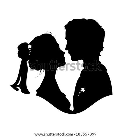 Silhouettes of bride and groom. Black against white background - stock photo