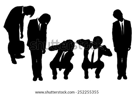 Silhouettes of business man looking depressed from work with white background - stock photo
