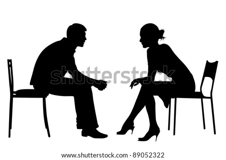 Silhouettes of Business men and women sit on office chairs, meeting, talking, making business deals. - stock photo