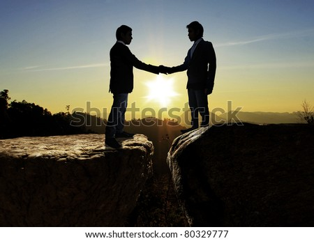 Silhouettes of business partners ,Shake - stock photo