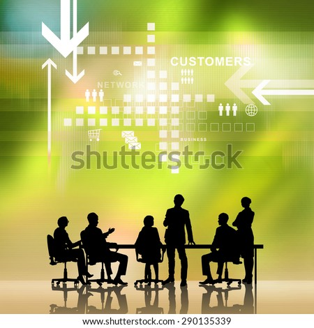 Silhouettes of business people as team sitting round table at digital background - stock photo