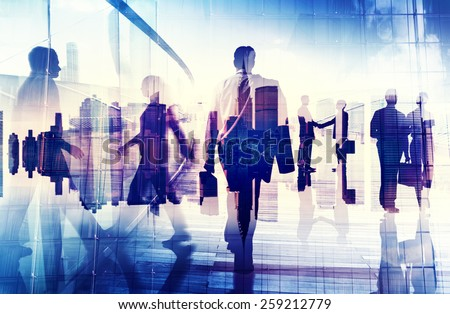 Silhouettes of Business People in an Office Building Concept - stock photo