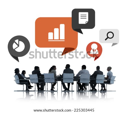 Silhouettes of Business People Meeting - stock photo