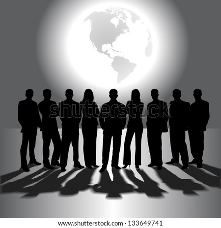 silhouettes of business people on the background of the planet - stock photo