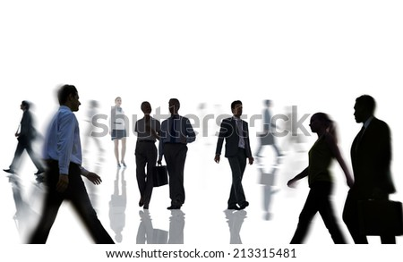 Silhouettes of Business People Rush Hour - stock photo