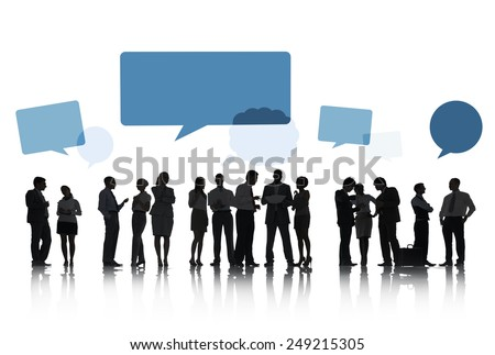 Silhouettes of Business People Talking and Speech Bubbles - stock photo