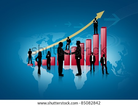 Silhouettes of business with red graph - stock photo