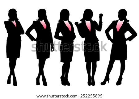 Silhouettes of Business woman with white background - stock photo