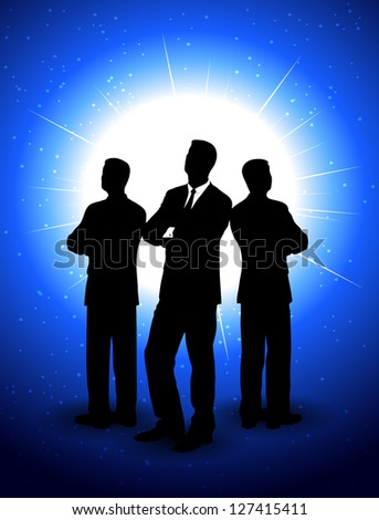 silhouettes of businessmen on an abstract background - stock photo