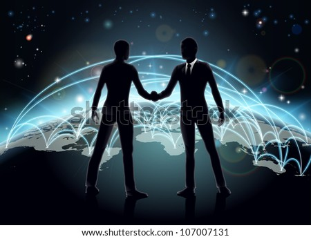 Silhouettes of businessmen shaking hands in front of world map with network or international trade lines - stock photo