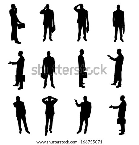 Silhouettes of businesspeople - stock photo
