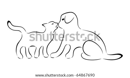 Silhouettes of cat and dog kissing. A vector version is also available.