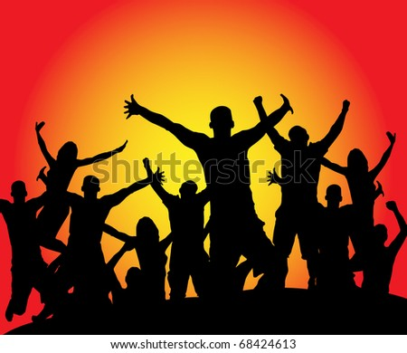 Silhouettes of celebrating young people - stock photo