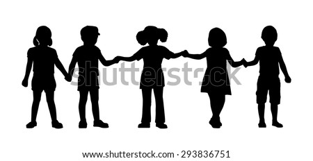 silhouettes of children of 4-5 years old standing holding hands together, front view - stock photo