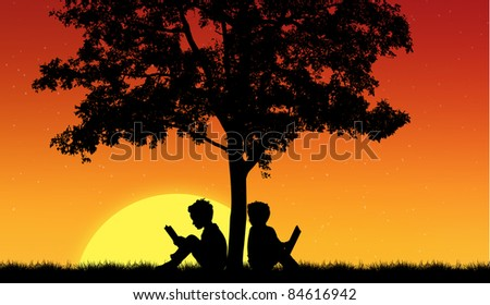 Silhouettes of children read book under tree