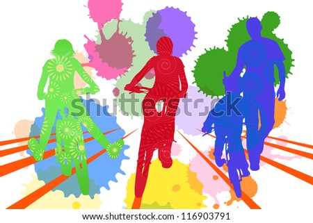 silhouettes of children riding on a bike - stock photo