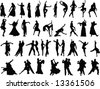 silhouettes of dancing people - stock photo