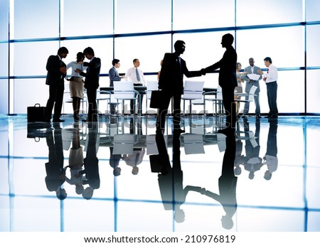 Silhouettes of Diverse Corporate Business People - stock photo