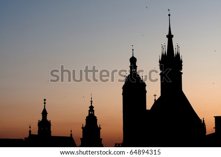 Silhouettes of domes Gothic Catholic cathedral in Krakow, Poland. - stock photo