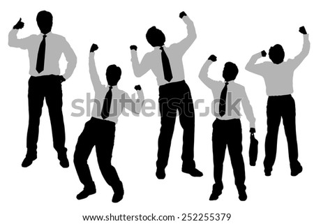 Silhouettes of excited happy Businessmen with white background - stock photo
