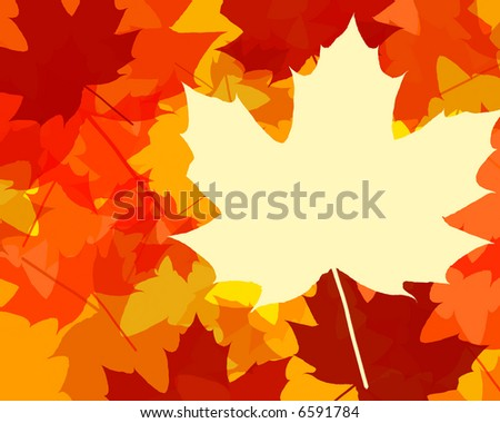silhouettes of fall color leaves - stock photo