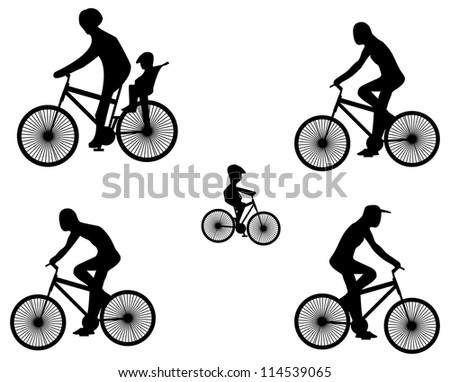 Silhouettes of fiber bike with cyclists. Raster version - stock photo