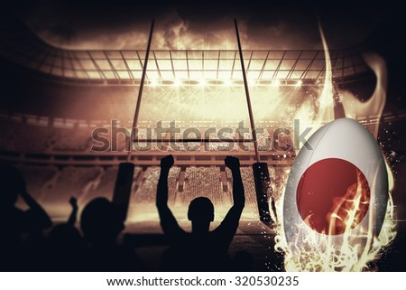 Silhouettes of football supporters against rugby pitch - stock photo