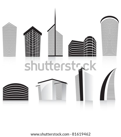 silhouettes of generic modern city office skyscrapers and headquarters buildings - stock photo