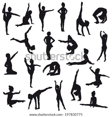 Silhouettes of gerls, children at dance, aerobics, shaping. Girl gymnast athlete isolated on white background - stock photo