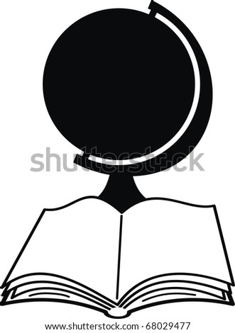 Silhouettes of globe and book - isolated illustration on white background - stock photo