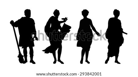 silhouettes of gods and heroes of ancient greek mythology - stock photo